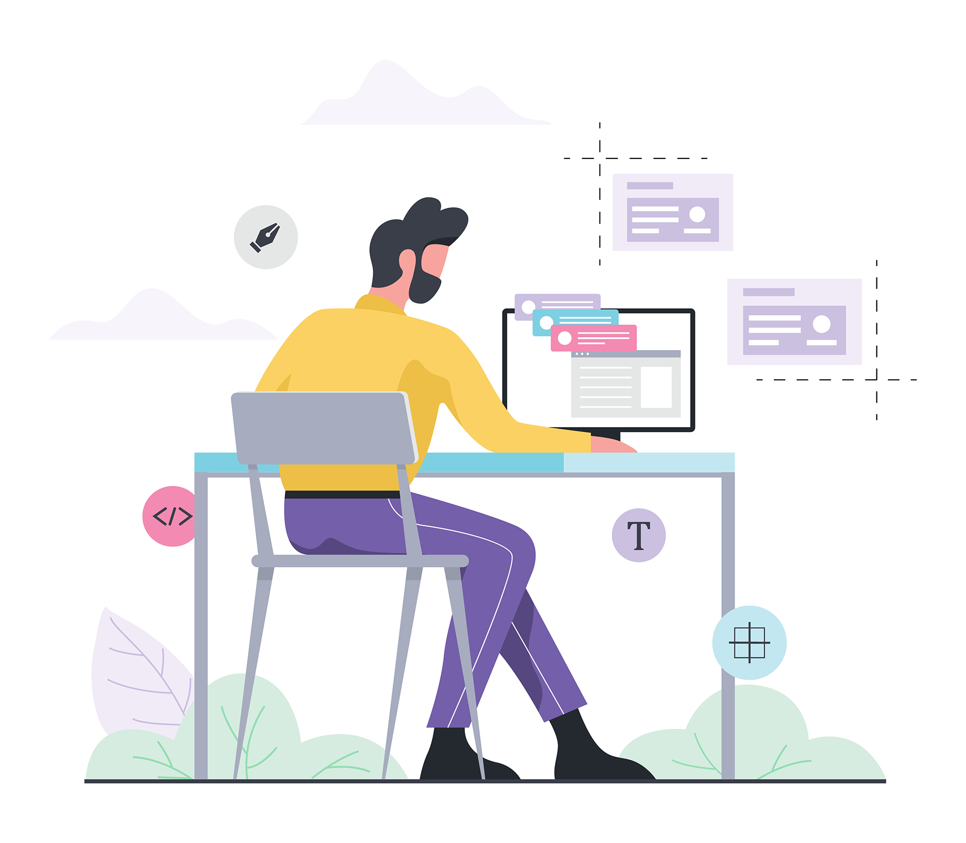 Web design and programming concept. Man sitting at the desk. Isolated flat illustration