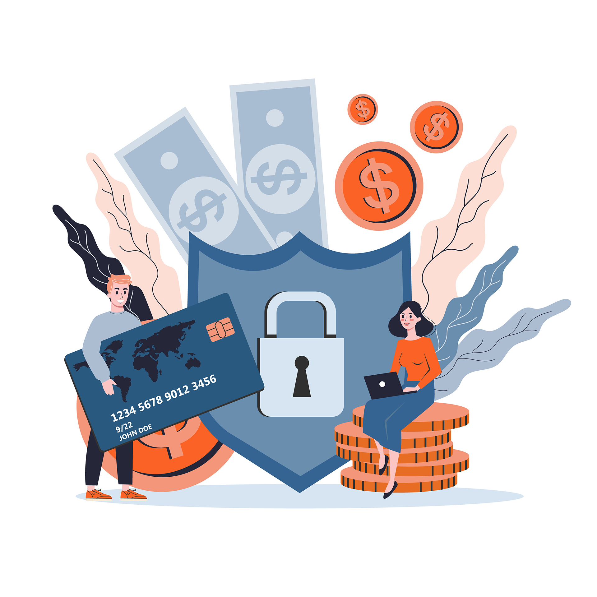 Isolated vector illustration of money protection concept, banking safety. Idea of secure payment, personal information security, bank account protection.