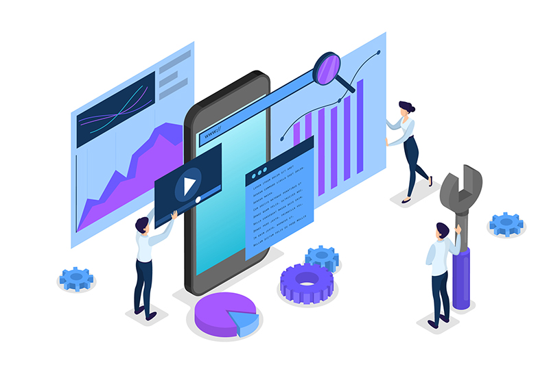 SEO concept. Idea of search engine optimization for website as marketing strategy. People make web page promotion in the internet. Isolated vector isometric illustration